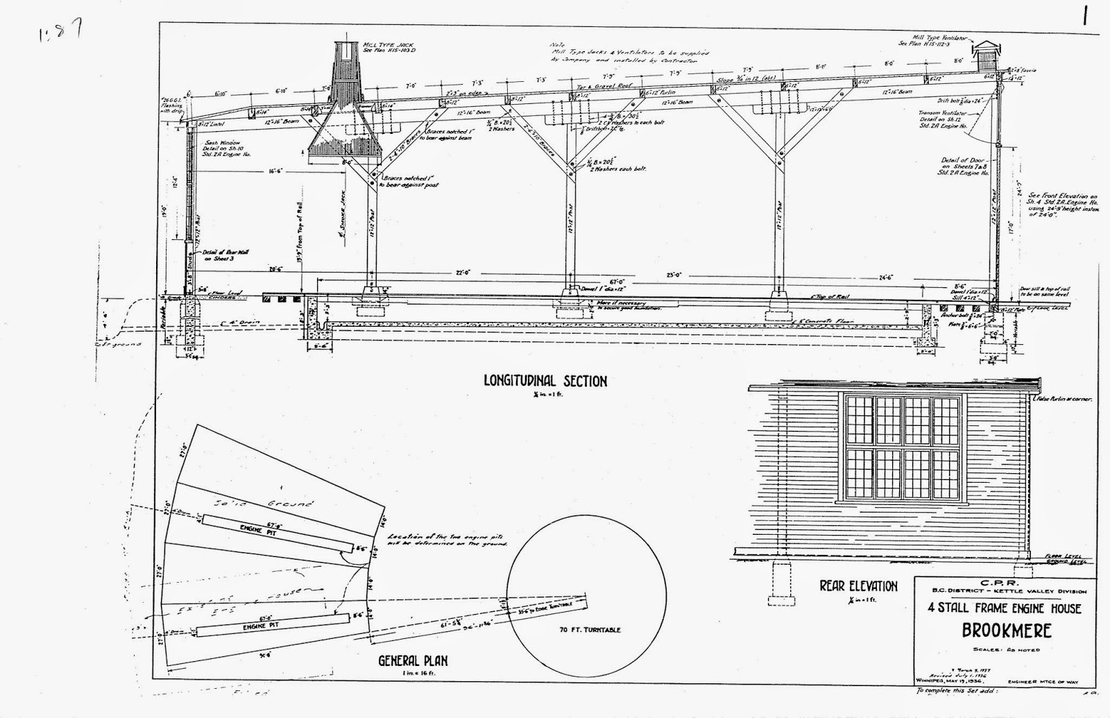 Kettle Valley Model Railway Brookmere Roundhouses I Ii 427 Engine Diagram The Buildings Walls Were Constructed Of 3 X 8 Plates And Studs On 24 Centres There Two Pits That Concrete Lined