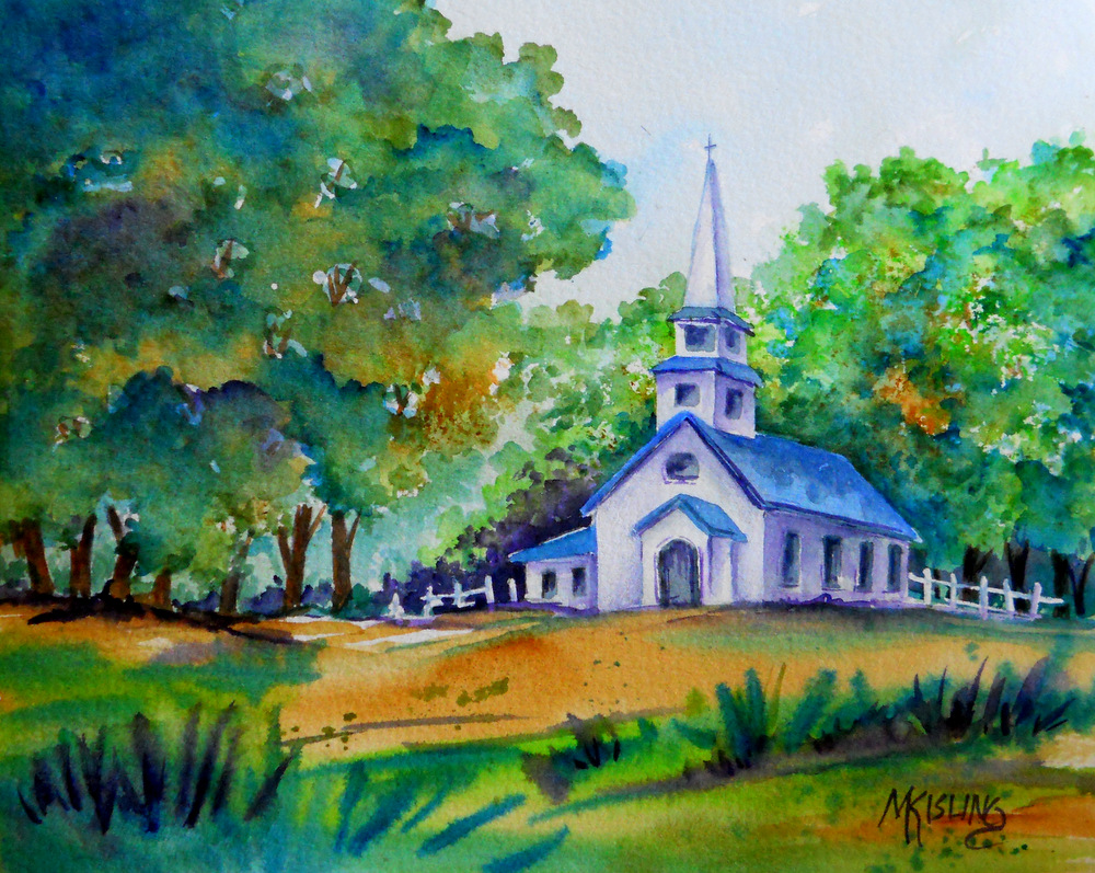Country Church And Leaves On Trees