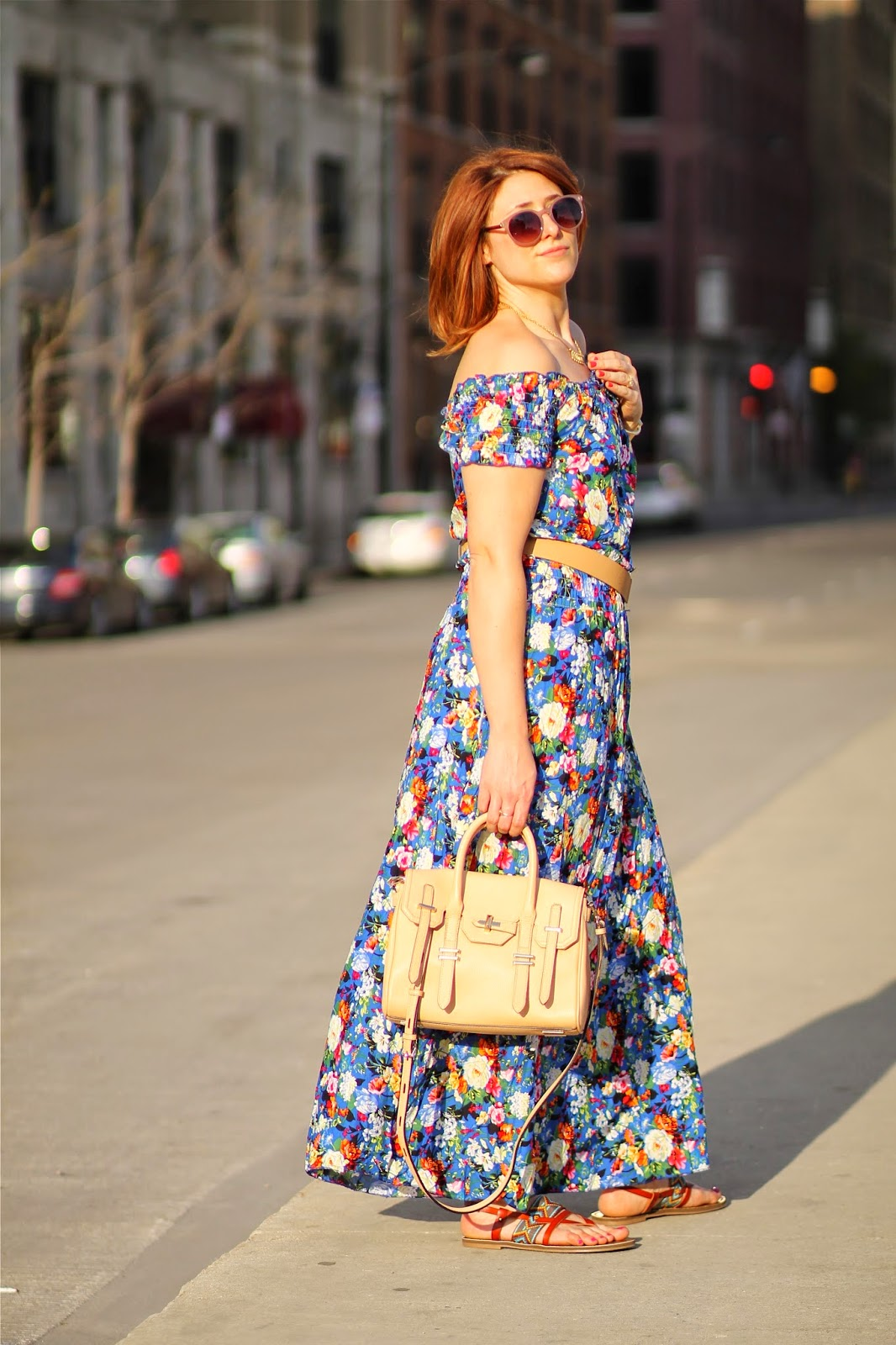 off, the, shoulder, dress, maxi, jules, rebecca, minkoff, satchel