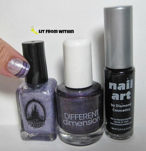 Bottle shot:  Enchanted Polish Purple Roses, Different Dimensions Dueling Unicorns, and a black nail art striper.