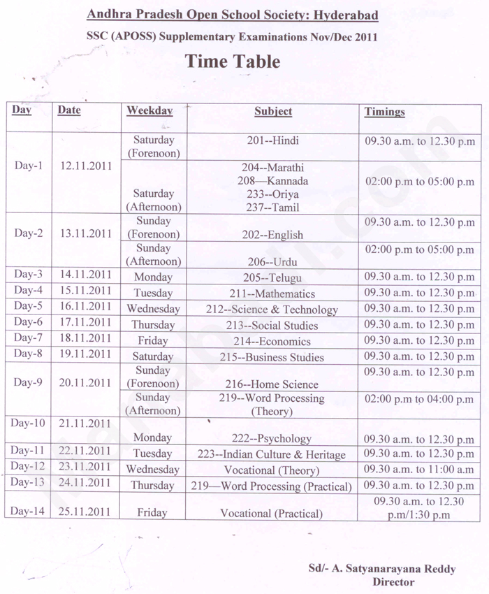 Andhra pradesh open school society aposs ssc for 6th sem time table