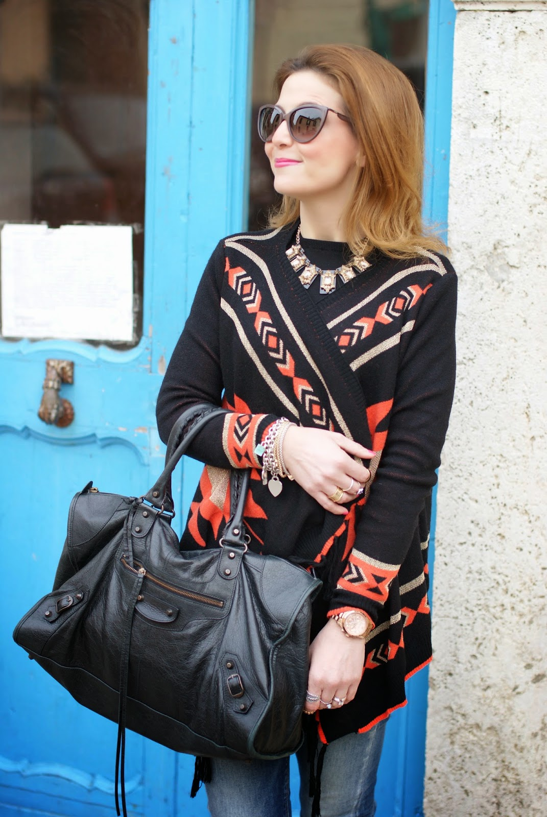 balenciaga work bag,  aztec cardigan, Fashion and Cookies, fashion blogger