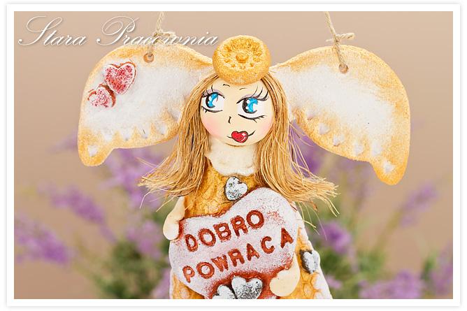 aniołek z masy solnej, anioł z masy solnej, aniołek z napisem, figurka z masy solnej, masa solna, aniołek z dedykacją, salt dough
