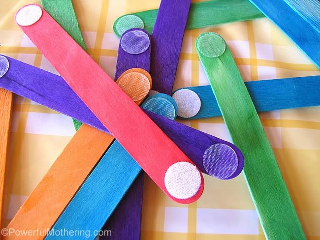 http://www.powerfulmothering.com/velcro-dot-craft-sticks/