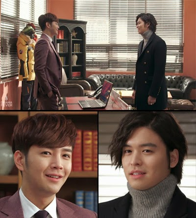 Dok Go Ma Te and David Choi smile at each other in the offic.