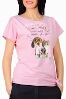 Tricou roz din bumbac cu imprimeu animalute D1900CP (Ama Fashion)