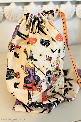 Vintage Halloween fabric, simple drawstring bag for trick-or-treating