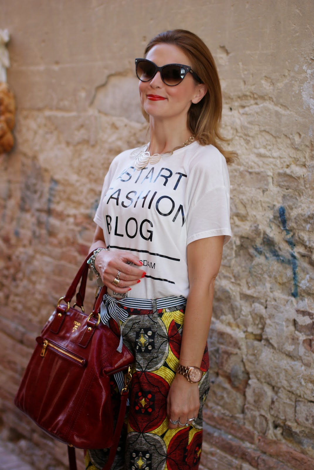 red Prada tote bag, vitti ferria contin necklace, Northland culottes, Fashion and Cookies, fashion blogger