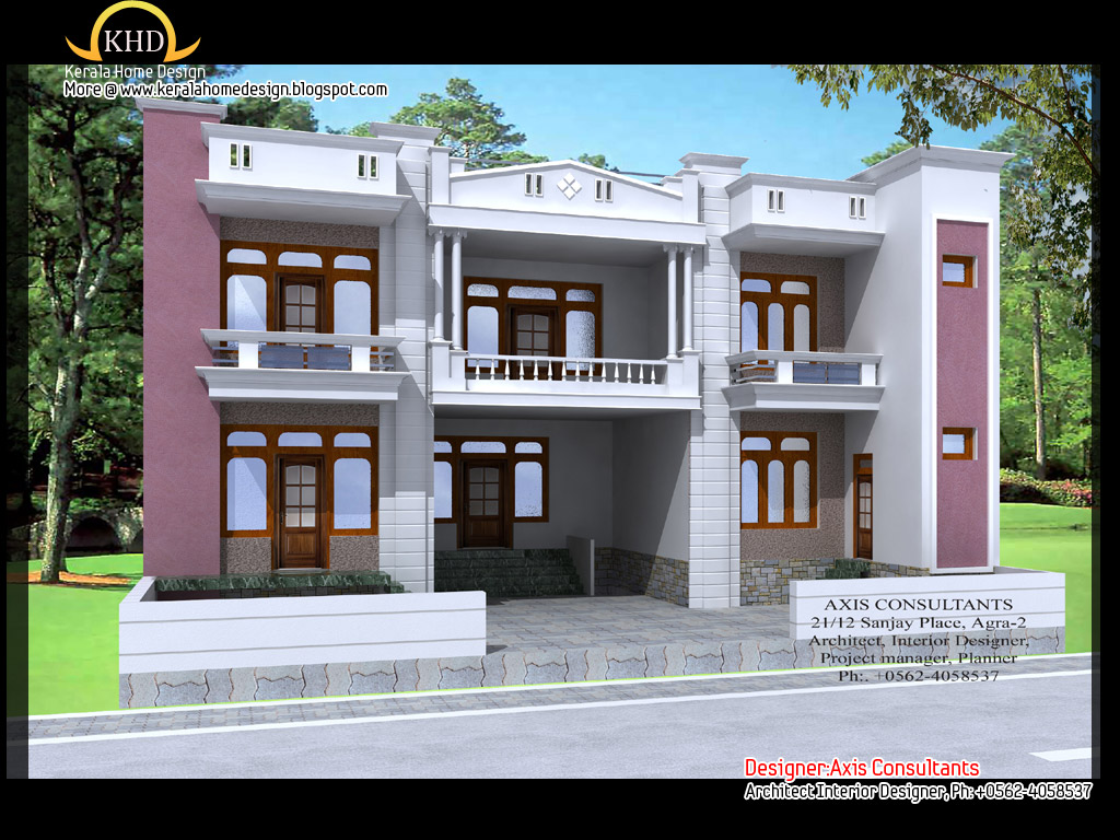 Modern beautiful duplex house design home designer - Duplex home elevation design photos ...
