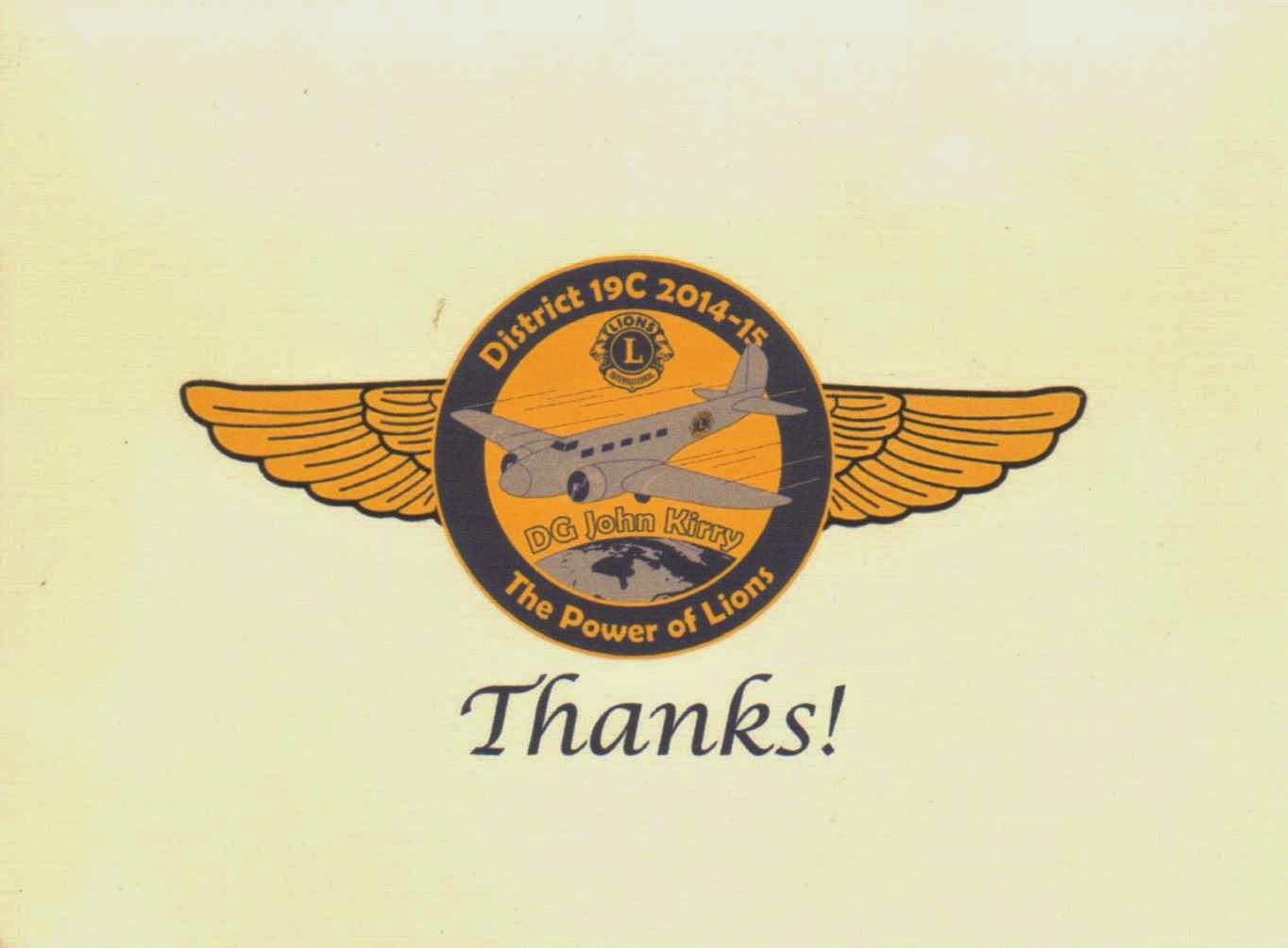 Rainier Lions Club Thank You Card From Dg John Kirry