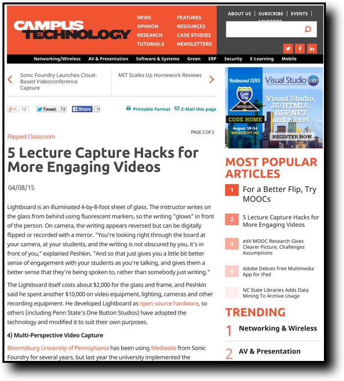 http://campustechnology.com/Articles/2015/04/08/5-Lecture-Capture-Hacks-for-More-Engaging-Videos.aspx?Page=1
