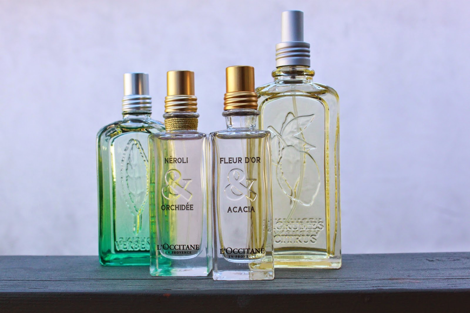 Just J: My L'Occitane Perfume Collection: Citrus Verbena, Fleur d'Or & Acacia, Neroli & Orchidee, Frisson de Verveine