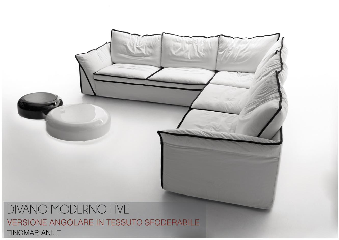 Divano angolare five un divano dai dettagli unici tino for Divano angolare in tessuto