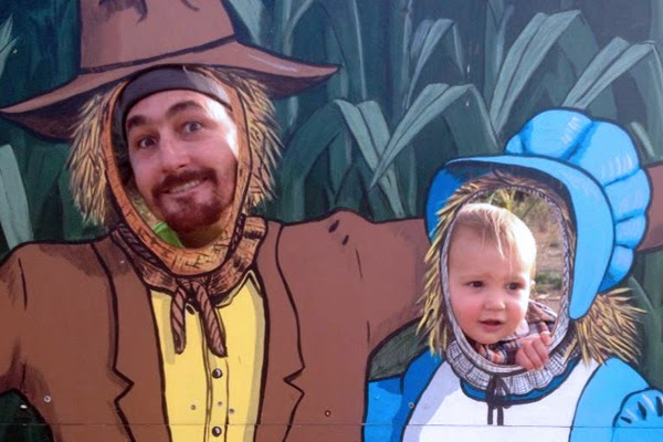 Reef with Mom & Dad at the Bates Nut Farm Pumpkin Patch.