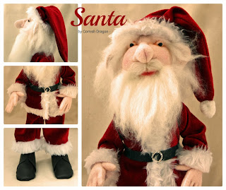 Red Cloth Art Father Christmas Doll