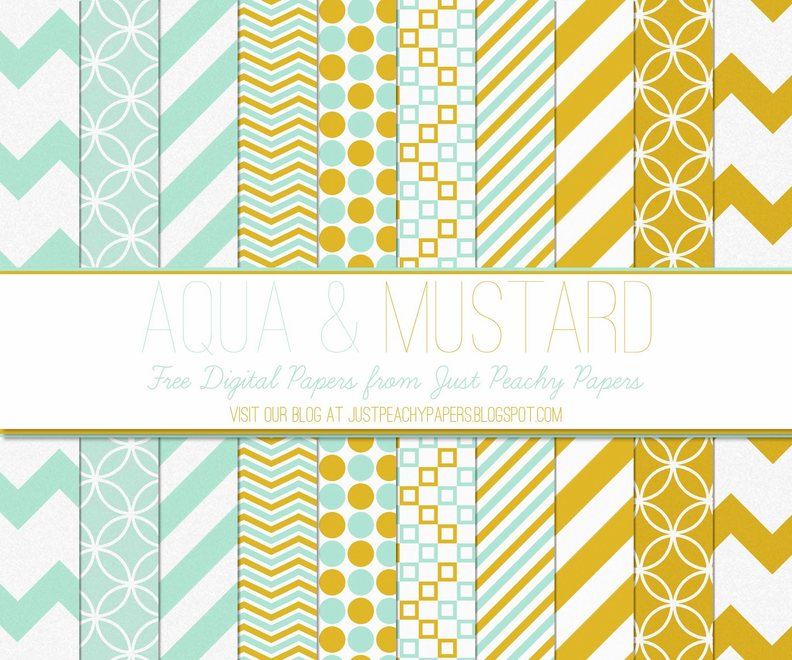 Free Digital Paper: Mustard and Aqua