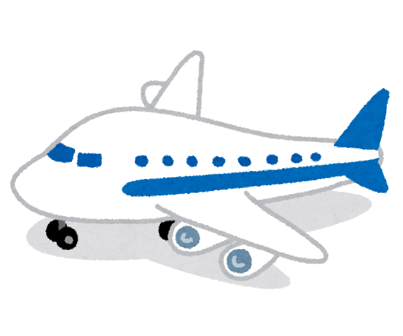 着陸した飛行機のイラスト