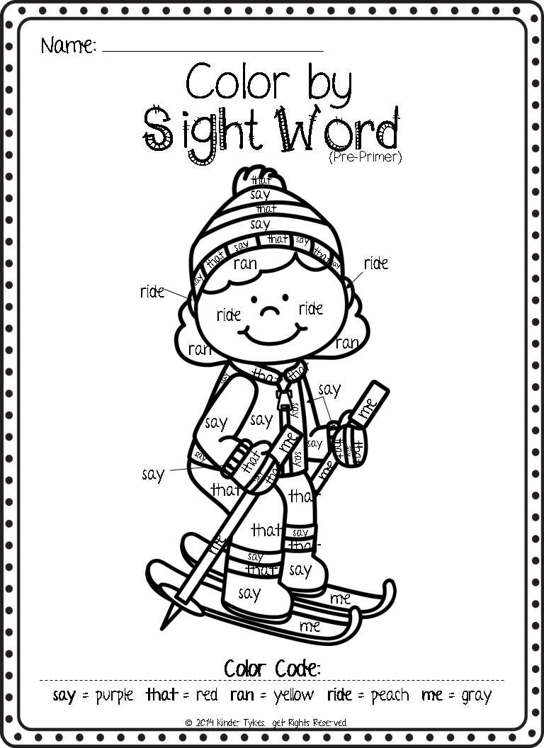 Color By Sight Word Words Pinterest