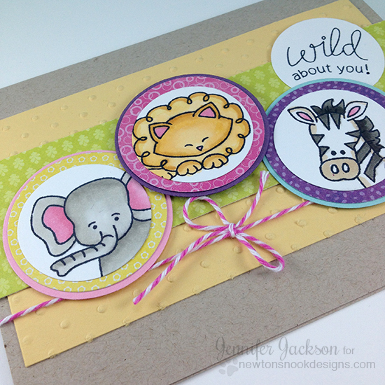 Wild about you - Zoo animals card for Cupcake challenge by Jennifer Jackson | Stamps by Newton's Nook Designs
