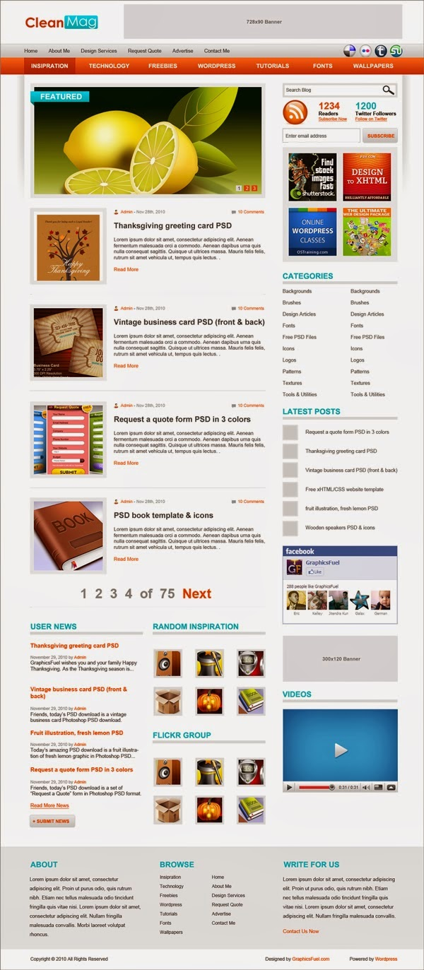 CleanMag PSD Website Templates