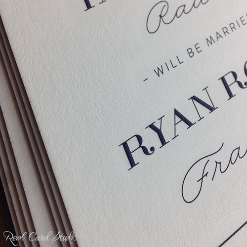 Engraved Save the Date card by Real Card Studio. #wedding #invitations #navy #lavender #realcardstudio