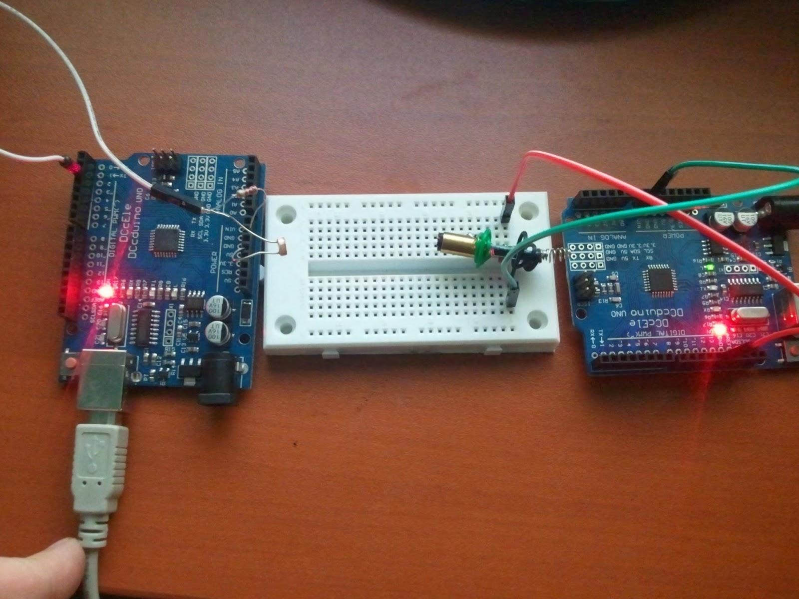 Arduino morse code transmitter receiver with laser