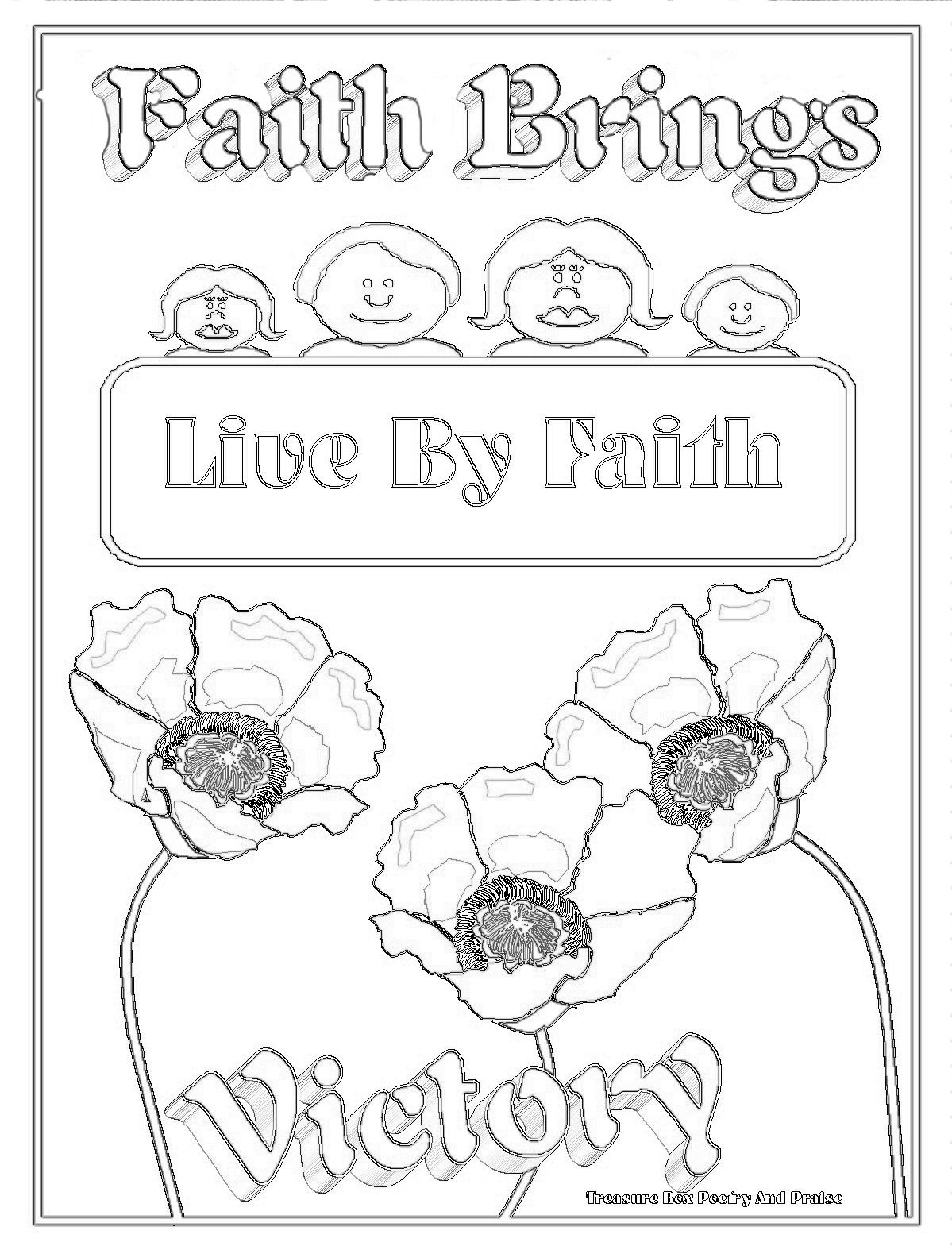 children u0027s gems in my treasure box faith brings victory coloring page