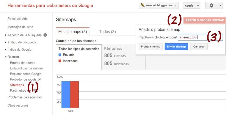 Enviar un sitemap con Herramientas para webmasters