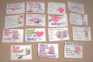 Valentine cards for Addah's class