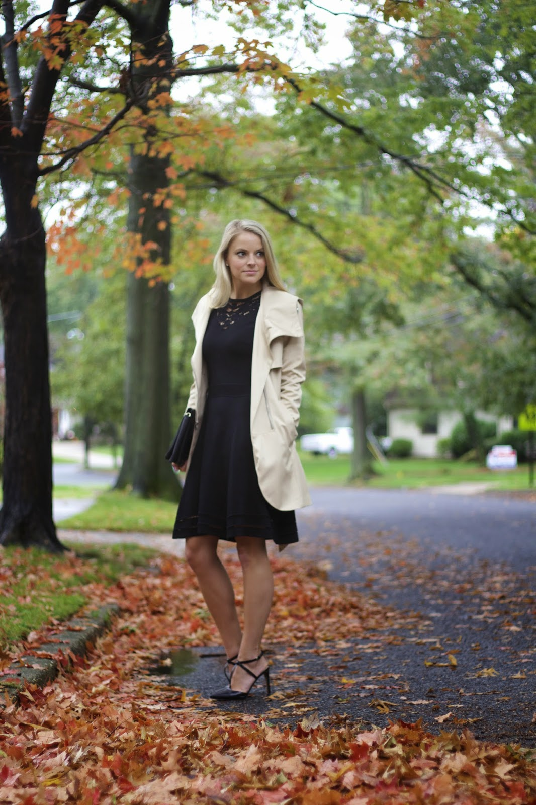 little black dress, lbd, wedding attire, hooded trench coat
