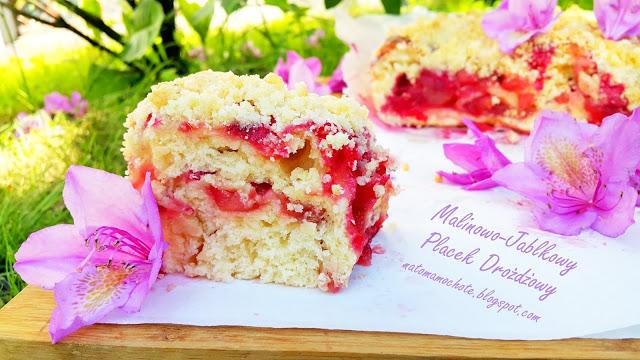 Malinowo-Jabłkowy Placek Drożdżowy