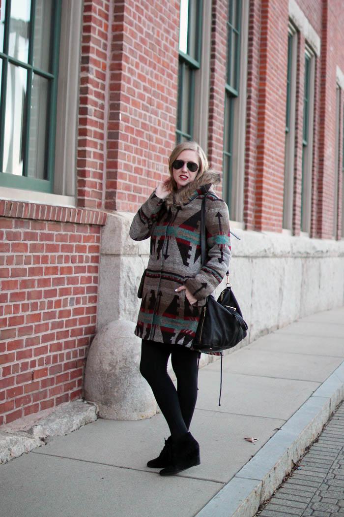 lord & taylor friends and family sale, boston blogger, charlestown navy yard, boston style blog, bb dakota tribal jacket, faux fur hood
