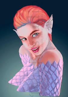 ilustración, de un primer plano de una mujer mojada