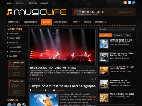 MusicLife 16 Best 2012 Free WordPress Themes