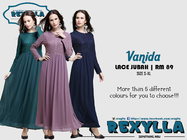 rexylla, princess cut, lace jubah, vanida collection
