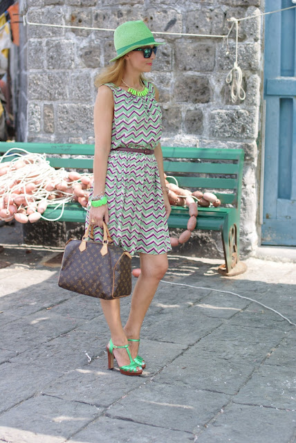 chevron dress, summer dress, Louis Vuitton Speedy 30, Gaia d'Este shoes, fashion blogger, Fashion and Cookies