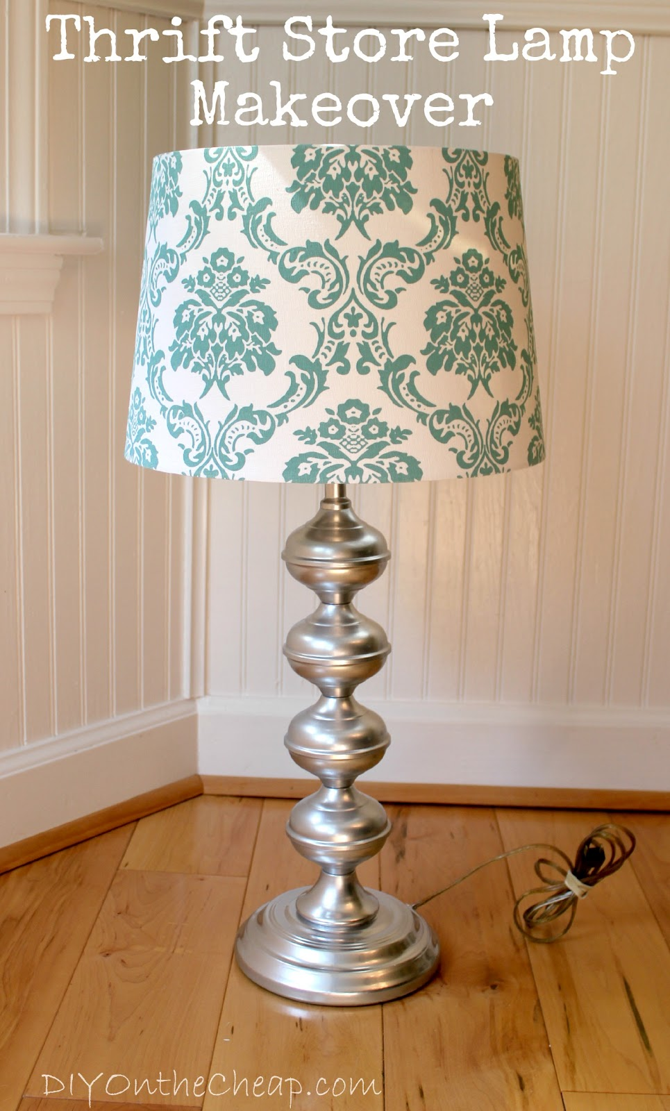 Thrift store lamp makeover diy on the cheap - Diy lamp shade ...