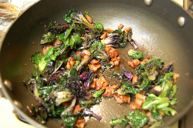 Food.OakMonster.com - Pan-roasted Kale Sprouts with Bacon and Brown Butter