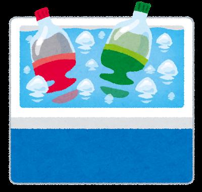 氷で冷やされているペットボトルのイラスト