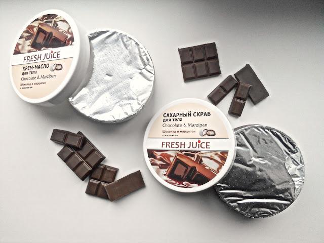 "Fresh Juice Chocolate & Marzipan Сахарный скраб и крем-масло для тела ""Шоколад и марципан"""