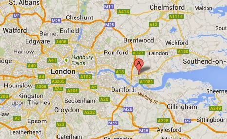 Google map showing the location of North Stifford, Essex