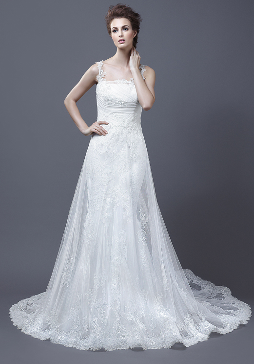 Lace Straps V-neck Wedding Dress