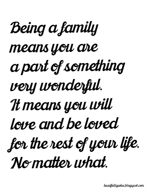 Being A Family Means You Are A Part Of Something Very Wonderful. It Means  You Will Love And Be Loved For The Rest Of Your Life. No Matter What.