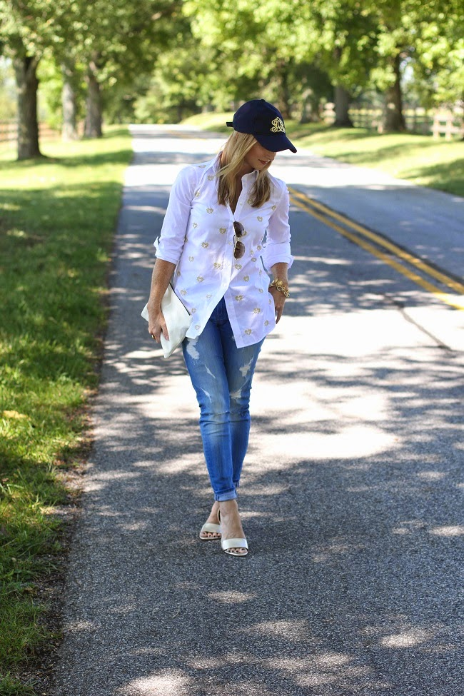 jcrew wool cap, jcrew bullion hearts shirt, 7 for all mankind distressed skinny jeans, clare v clutch, joie heels, julie vos jewelry