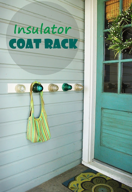 Please pin from original source: http://www.creativelylivingblog.com/2012/05/insulator-coat-rack.html
