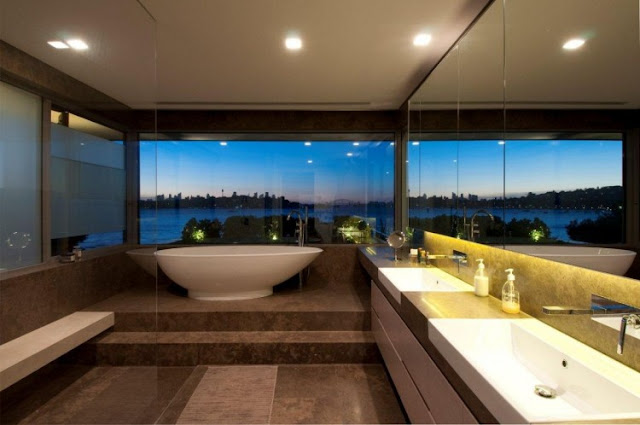 Photo of modern bathroom with the view of Sydney skyline in an amazing home