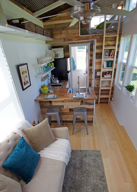 Tiny House with loft bed and open kitchen :: OrganizingMadeFun.com