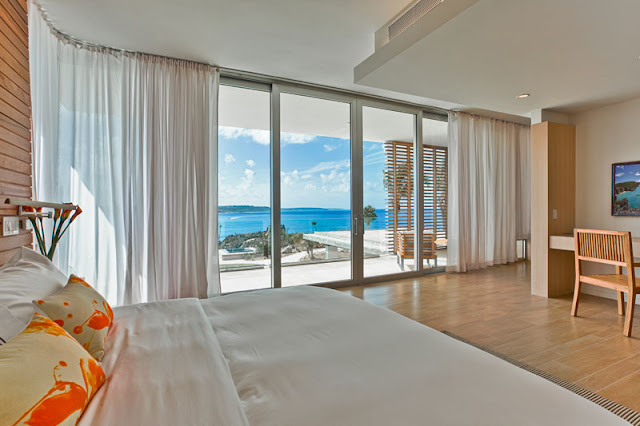 Another modern bedroom with the ocean view