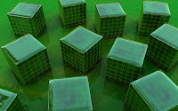 papel de parede cubo verde 3d