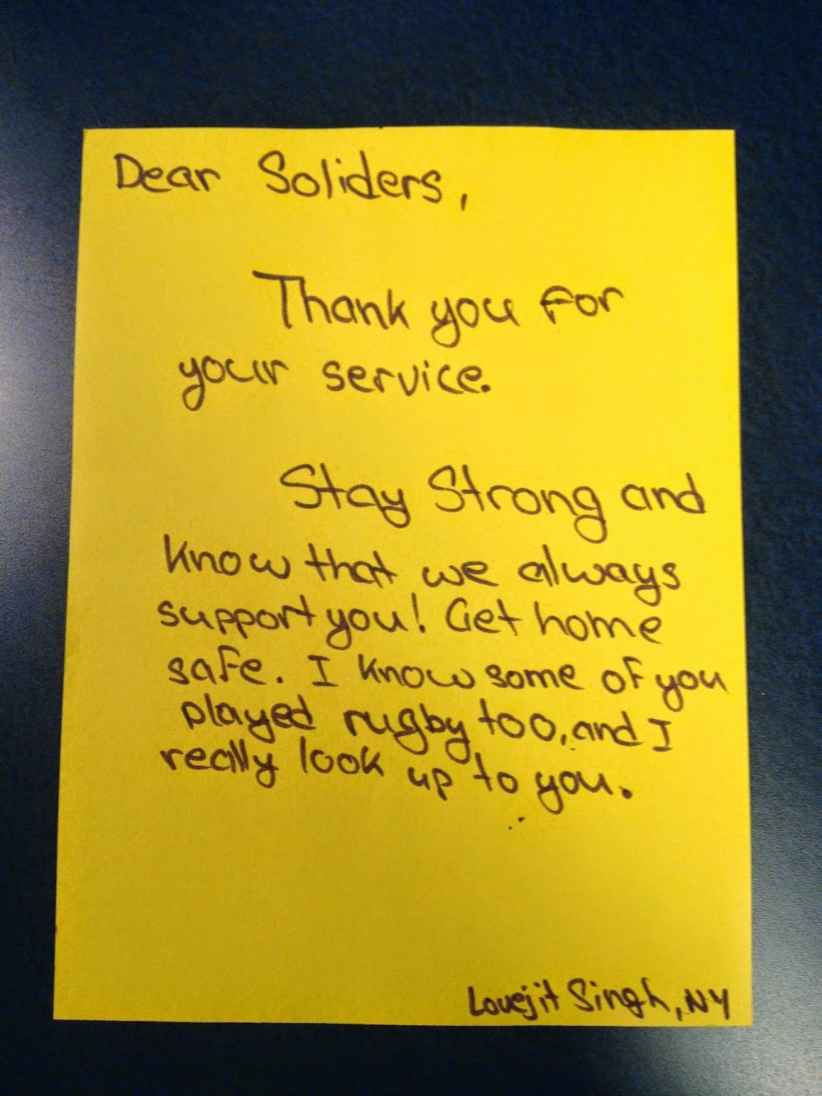 Hope For The Warriors Youth Rugby Teams Write Letters To Service